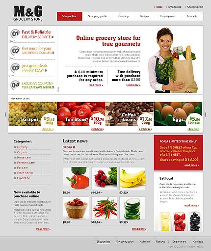 m g grocery store e commerce web design template