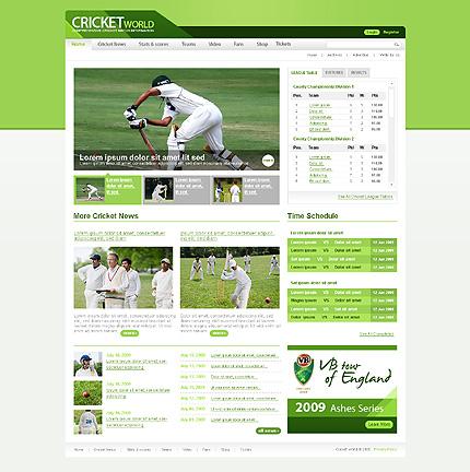 Cricket Web Page Design