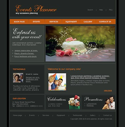 perfect event planner corporate web design template. Black Bedroom Furniture Sets. Home Design Ideas